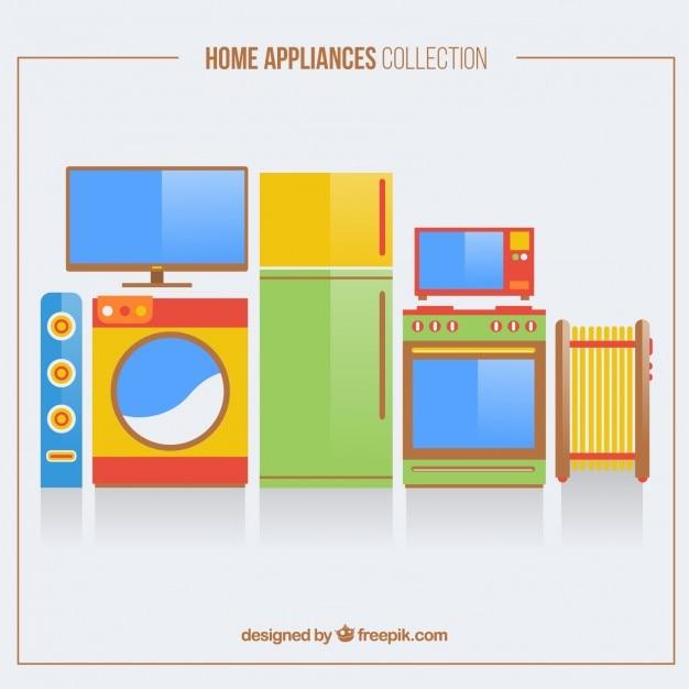 Paczka Płaskich Kolorowych Urządzeń Domowych Darmowych Wektorów