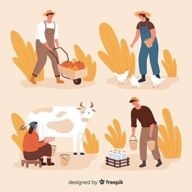 Paczka płaskich pracowników rolnych Darmowych Wektorów