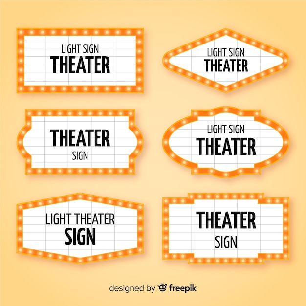 Paczka płaskiego teatru znak Darmowych Wektorów