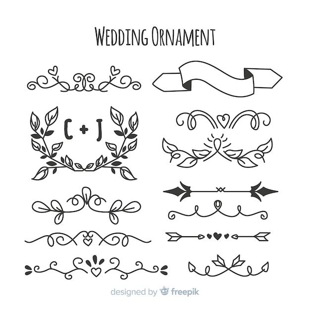 Paczka ręcznie rysowane ozdoby ślubne Darmowych Wektorów