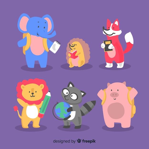 Paczka ręcznie rysowanych zwierząt z powrotem do szkoły Darmowych Wektorów