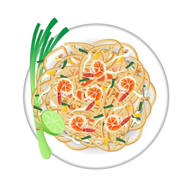 Pad thai na talerzu. widok z góry . Premium Wektorów