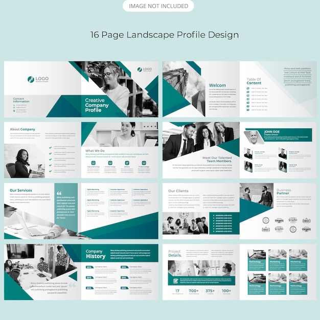 Page Landscape Brochure Design Premium Wektorów