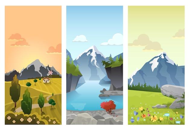 Pagórkowate Góry Krajobraz W Porach Roku: Wiosna Lato Jesień Darmowych Wektorów