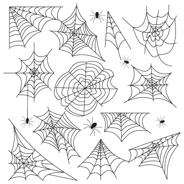 Pajęczyna pająka sieci halloween wektoru ustalony czerń Premium Wektorów