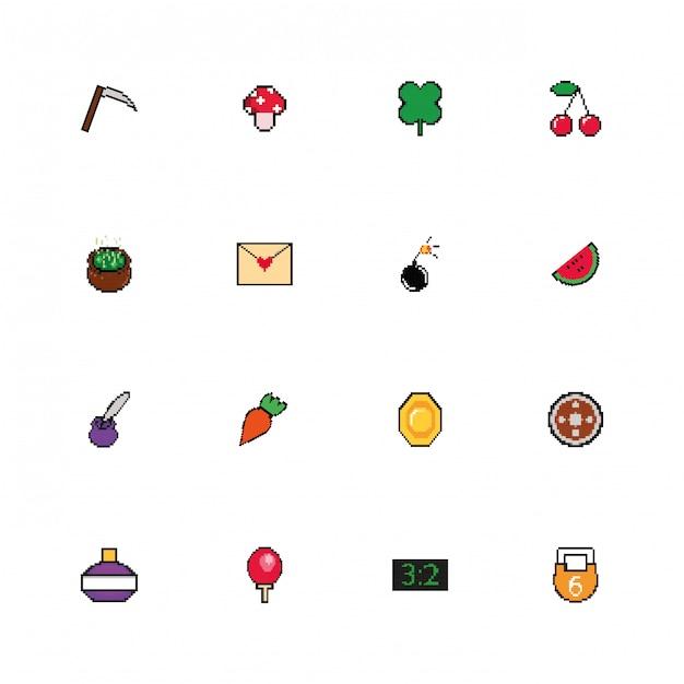 Pakiet 8 bitowych pikselowych ikon stylu Darmowych Wektorów