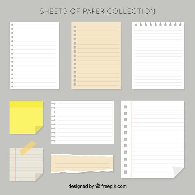 Pakiet Arkuszy Papieru I Post-it Darmowych Wektorów