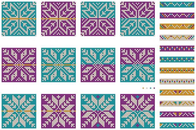 Pakiet babci noworocznych świątecznych wzorów bobasowego swetra Premium Wektorów
