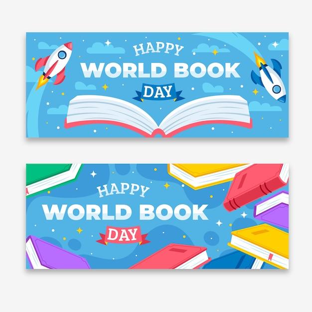 Pakiet Bannerów Z Okazji światowego Dnia Książki Darmowych Wektorów
