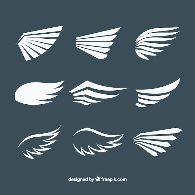 Pakiet białych skrzydeł w płaskim deseniu Darmowych Wektorów