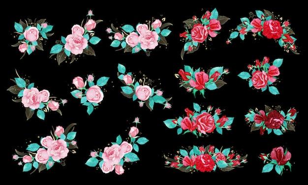 Pakiet Bukiet Róż W Stylu Przypominającym Akwarele Na Zaproszenie Na ślub Lub Kartkę Z życzeniami. Darmowych Wektorów