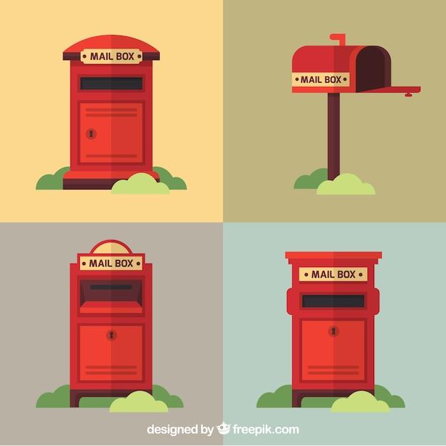 Pakiet czterech czerwonych skrzynek pocztowych w stylu vintage Darmowych Wektorów