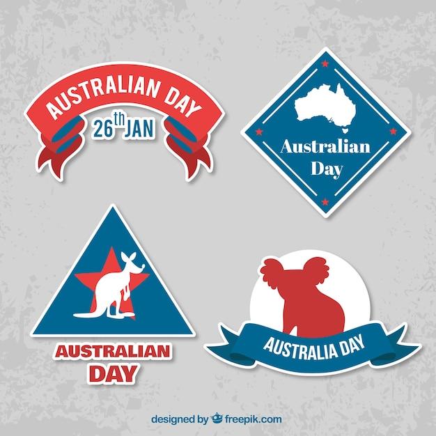 Pakiet Czterech Dzień Australii Etykiet Z Ciekawymi Motywami Darmowych Wektorów