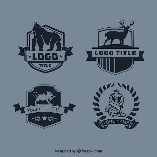 Pakiet czterech logotypów zwierząt w stylu vintage Darmowych Wektorów