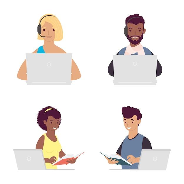 Pakiet Czterech Studentów Z Projektowaniem Ilustracji Online Do Edukacji Laptopów Premium Wektorów