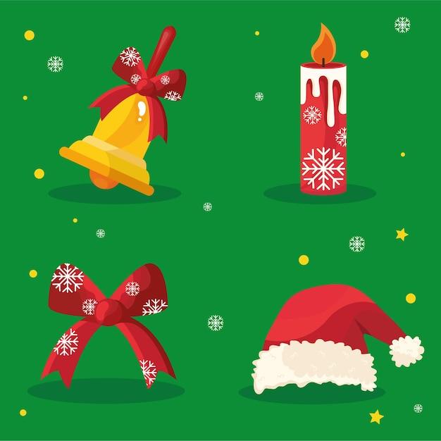 Pakiet Czterech Szczęśliwych Ikon Wesołych świąt W Czerwonym Tle Premium Wektorów