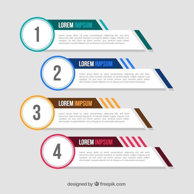 Pakiet czterech transparentów infograficznych o kolorowych elementach Darmowych Wektorów