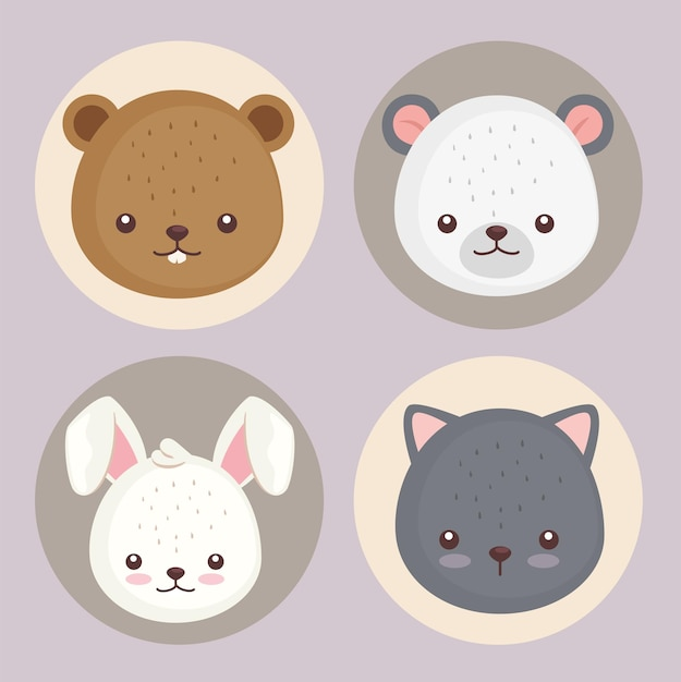 Pakiet Czterech Uroczych Zwierzątek Głowy Zestaw Ikon Ilustracji Projekt Premium Wektorów
