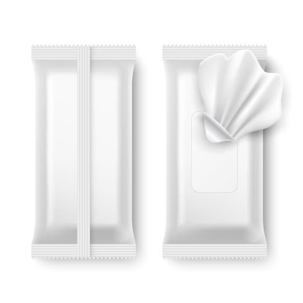 Pakiet do wycierania na mokro. biała pielucha pakuje odosobnionego makieta Premium Wektorów