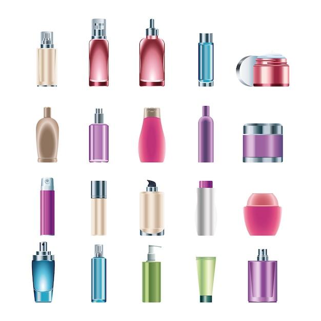 Pakiet Dwudziestu Butelek Do Pielęgnacji Skóry Produktów Ikony Ilustracja Premium Wektorów