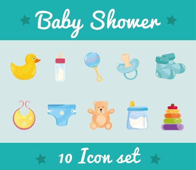 Pakiet Dziesięciu Baby Shower Zestaw Ikon I Napisów Premium Wektorów