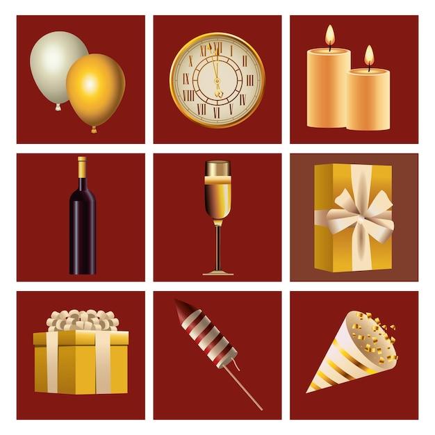 Pakiet Dziewięciu Szczęśliwego Nowego Roku Ustawić Ikony Na Czerwonym Tle Ilustracji Premium Wektorów