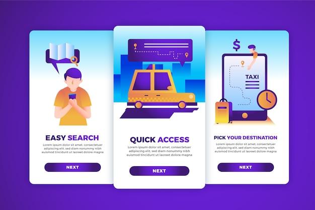 Pakiet Ekranów Z Aplikacjami Do Obsługi Taksówek Darmowych Wektorów