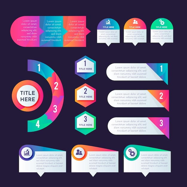 Pakiet Elementów Gradientu Infographic Darmowych Wektorów