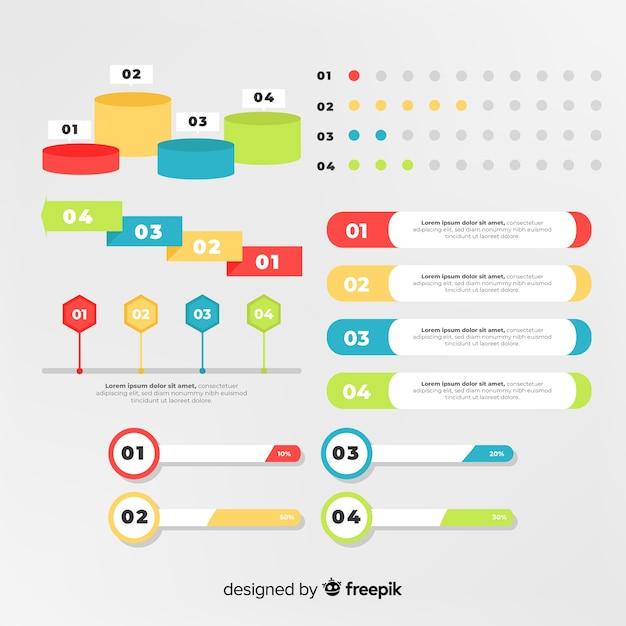 Pakiet elementów płaskich infographic Darmowych Wektorów