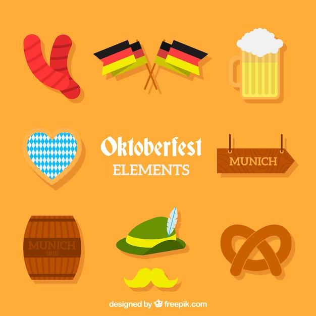 Pakiet elementów tradycyjnych niemieckich uroczystości Darmowych Wektorów