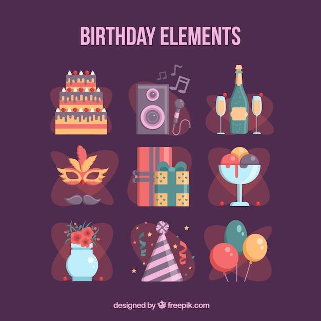 Pakiet Elementów Z Okazji Urodzin Darmowych Wektorów