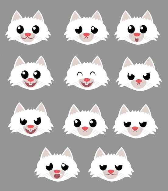 Pakiet emocji dla kota Premium Wektorów