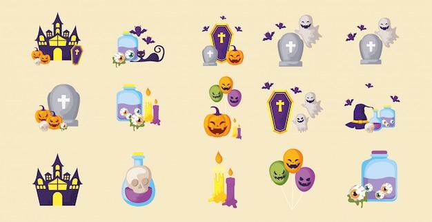 Pakiet halloween z zestawem ikon Premium Wektorów