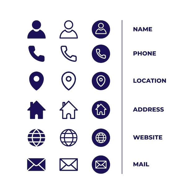 Pakiet Ikon Dla Wizytówki Premium Wektorów