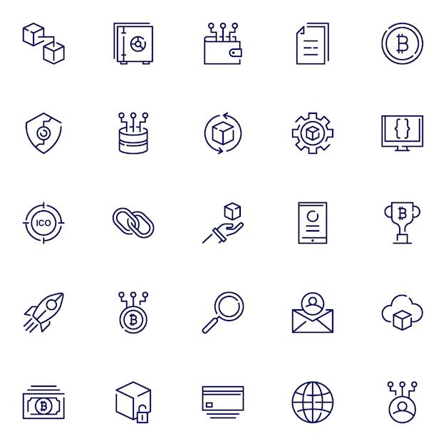 Pakiet Ikon łańcucha Bloków, Ze Stylem Ikony Konspektu Premium Wektorów