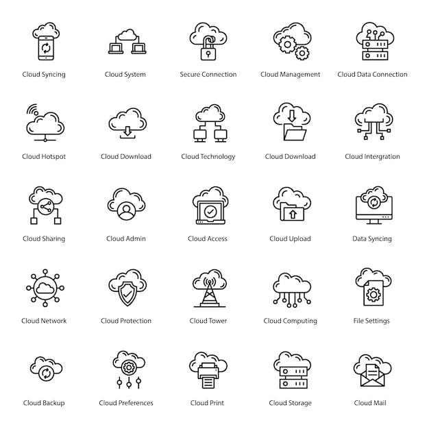 Pakiet ikon linii cloud server Premium Wektorów