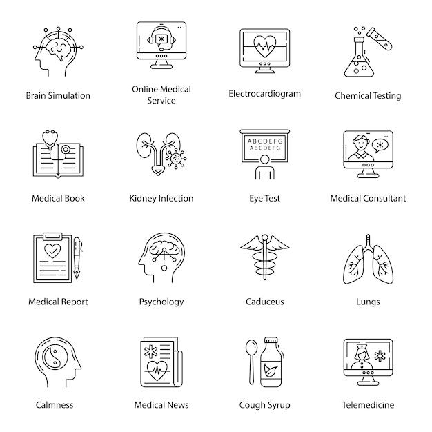 Pakiet ikon linii sprzętu medycznego Premium Wektorów