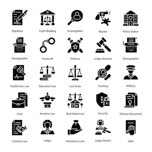 Pakiet Ikon Prawa I Sprawiedliwości Premium Wektorów