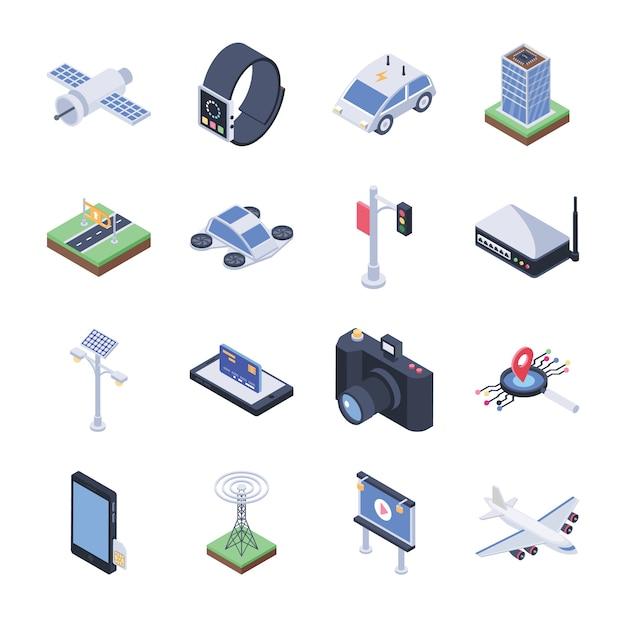 Pakiet Ikon Smart City Premium Wektorów