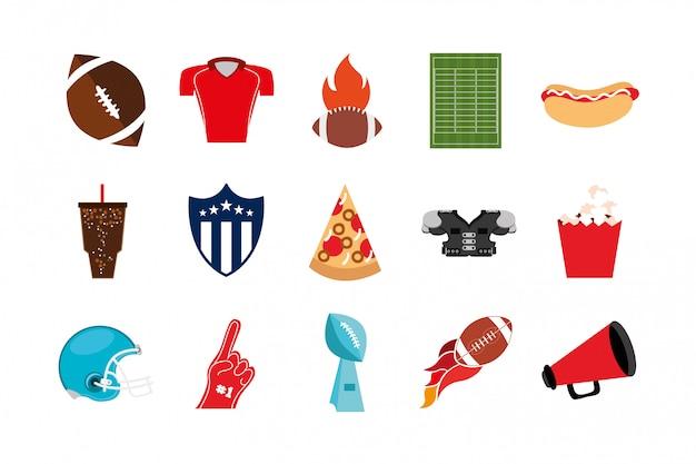 Pakiet Ikon Sportu Futbolu Amerykańskiego Premium Wektorów
