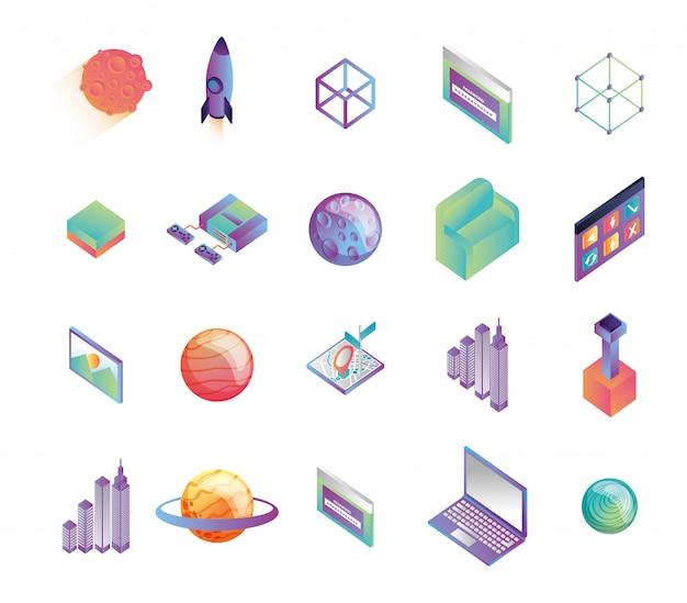 Pakiet ikon technologii wirtualnej rzeczywistości Darmowych Wektorów