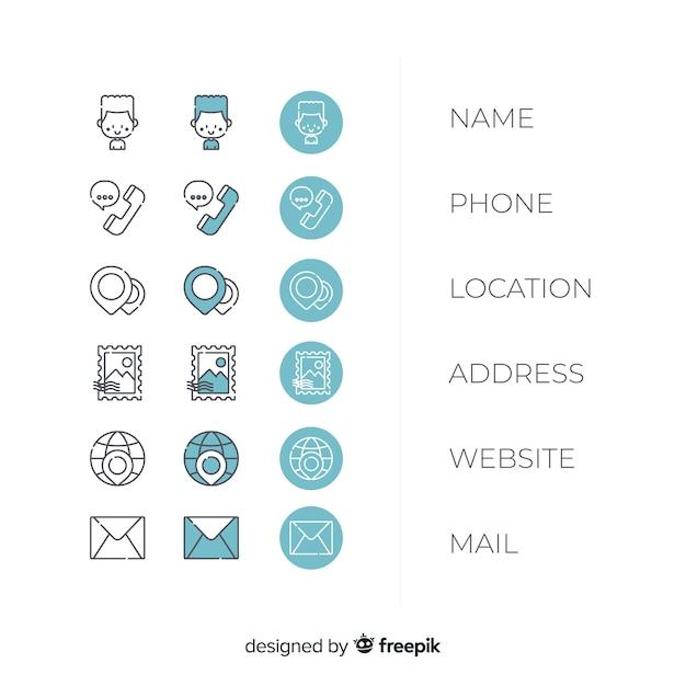Pakiet ikon wizytówki Darmowych Wektorów