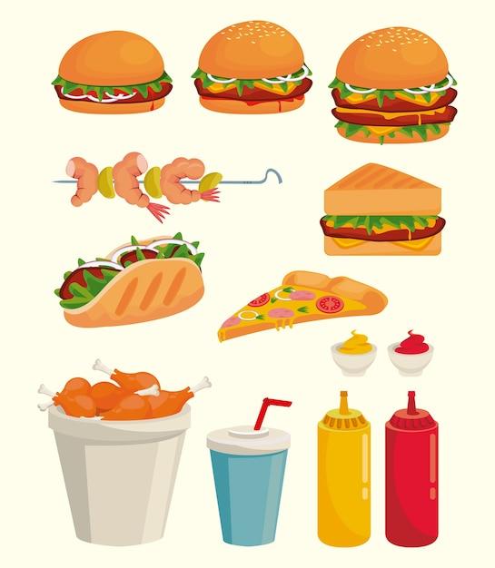 Pakiet Ilustracji Ikony Pyszne Fast Food Premium Wektorów
