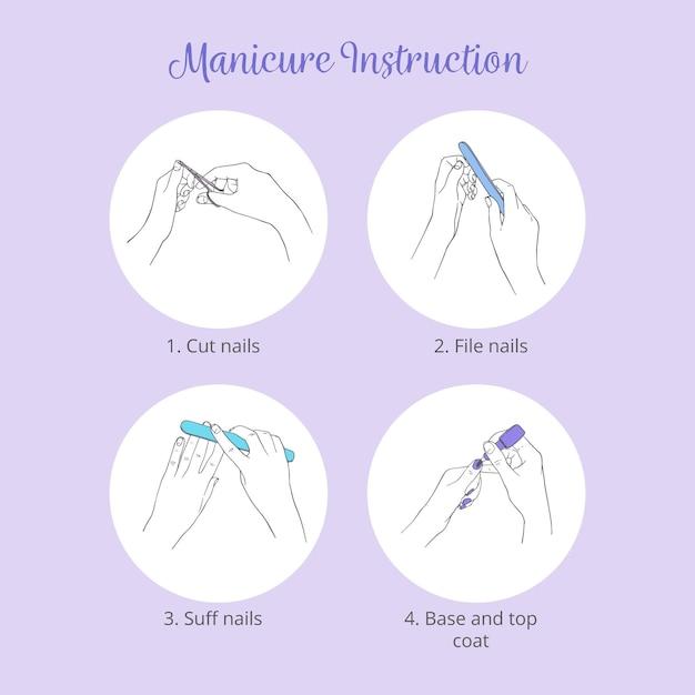 Pakiet Ilustracji Instrukcji Manicure Darmowych Wektorów