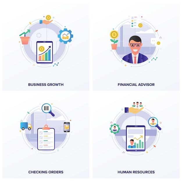 Pakiet ilustracji seo flat Premium Wektorów