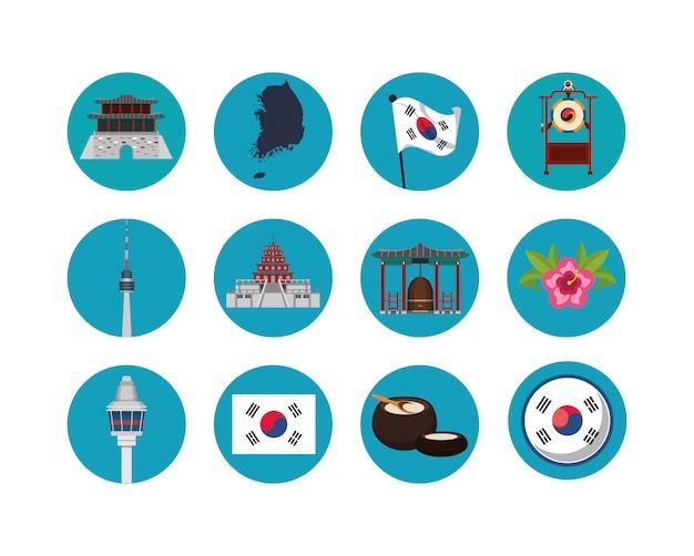 Pakiet japońskich ikon kultury Premium Wektorów