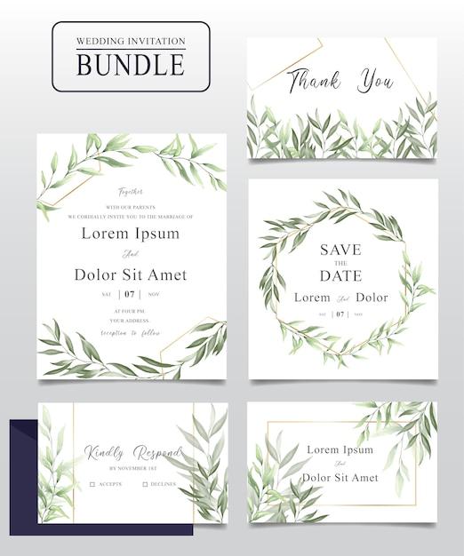 Pakiet kart zaproszenie ślubne akwarela z zielonymi liśćmi Premium Wektorów