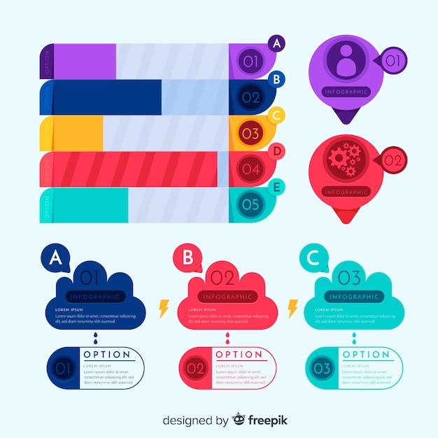 Pakiet Kolorowych Elementów Infographic Darmowych Wektorów