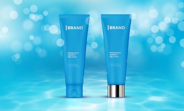 Pakiet Kosmetyczny Reklama Szablon Skóry Pielęgnacji Krem Wody Tło Premium Wektorów