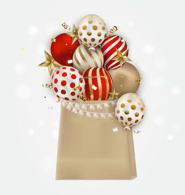 Pakiet kraft z kolorowymi balonami, gwiazdami 3d, konfetti i miejscem na tekst. tło uroczystości na urodziny, imprezy, wyprzedaże, promocje ... Premium Wektorów